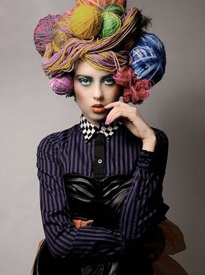 Yarn hairdo, photo by fashion photographer Ivan Aguirre for Blink Magazine--This is for all you stashers. You know who you are!
