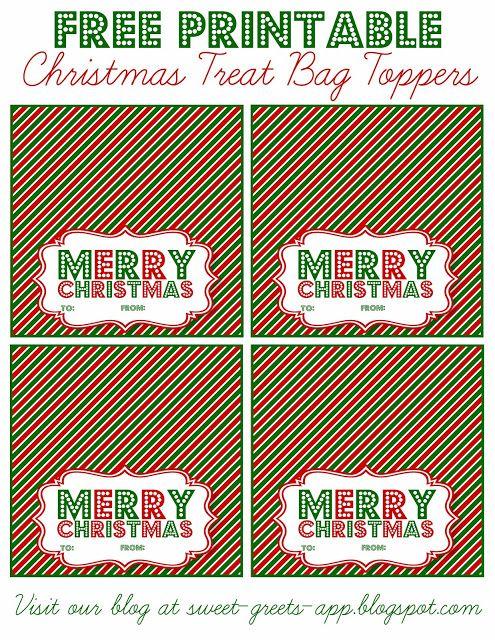 Free Printable Christmas Treat Bag Toppers