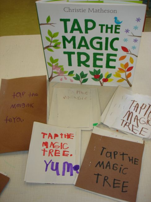 Using Tap the Magic Tree by Christie Matheson to inspire young authors at the writing centre. Writing in Kindergarten.