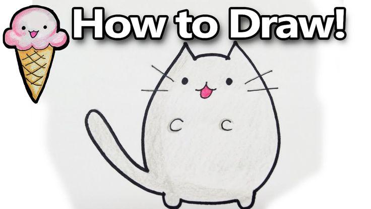 How to Draw Pusheen a Cute Kawaii Cat Cartoon! Drawing Tutorial  | Doodl...