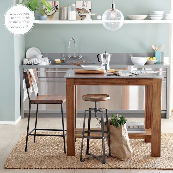 Love the stool from @westelm: Wall Colors, Small Kitchens, Rustic Kitchens, Kitchens Tables, Kitchens Islands, Kitchens Carts, Modern Kitchens, West Elm, Stainless Steel
