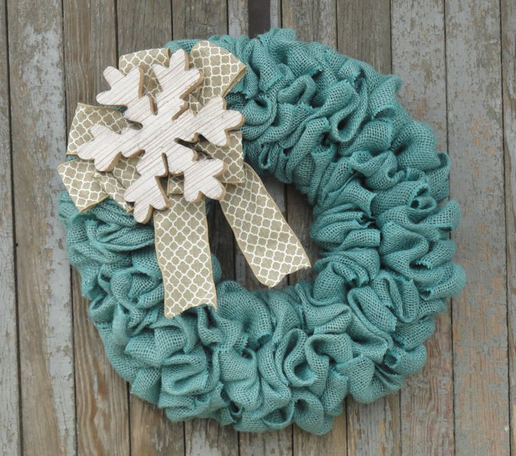 Winter Burlap Wreath, Snowflake Wreath, Snow Wreath, Turquoise and White Burlap…