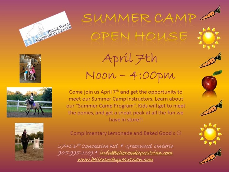 Summer Camp Open House   Sunday, April 7th 2013  Noon to 4:00 PM  Get a chance to win a week of camp