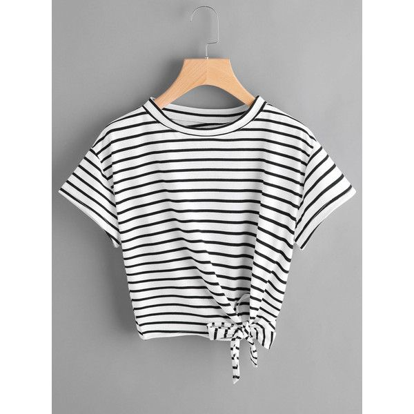SheIn(sheinside) Striped Side Knotted Tee ($9) ❤ liked on Polyvore featuring tops, t-shirts, black and white, black and white striped t shirt, black and white striped tee, short sleeve tops, black and white striped top and striped sleeve t shirt