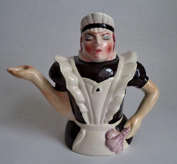 1988 Teapot Tea Time Serving Maid Teapot Hand by MushkaVintage3