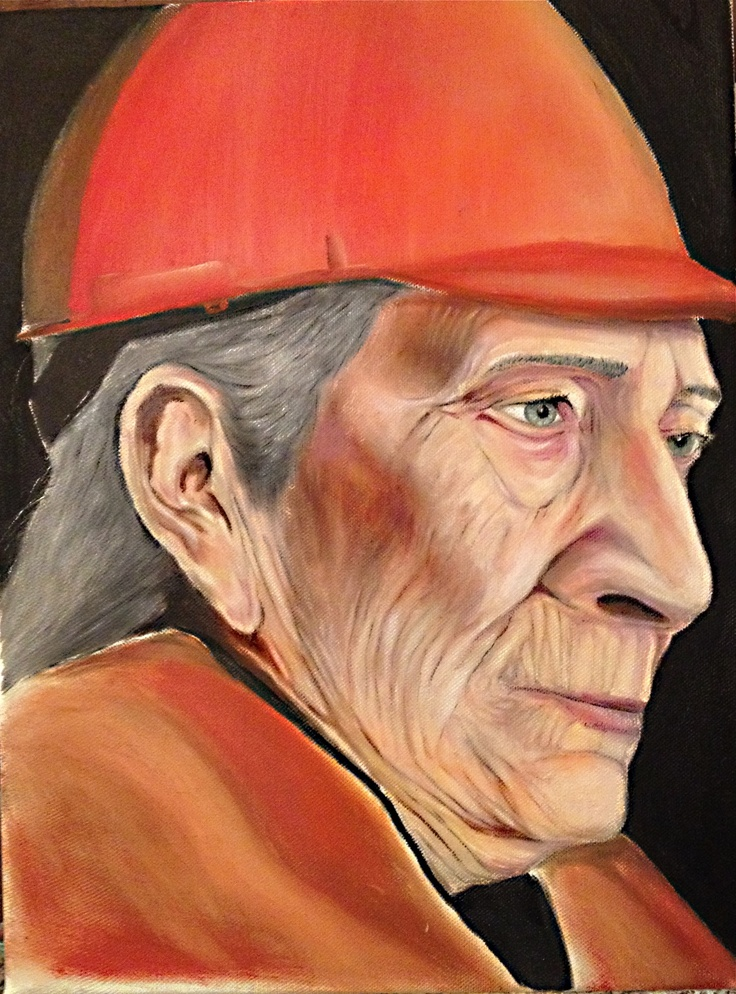 Wisdom of the old worker 30 cm times 40 cm  Oil on canvas
