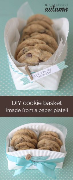 what a cool idea - make a cookie gift basket from a paper plate! This is so much cuter than handing someone a baggie of cookies. Looks super easy.