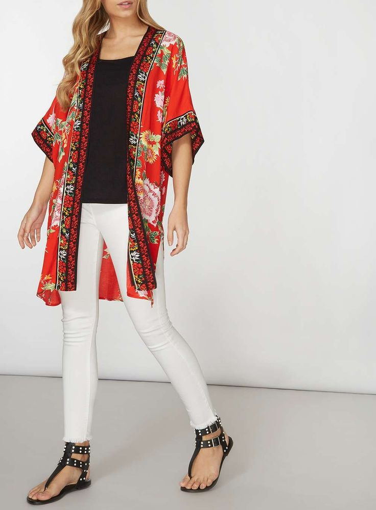 J2017  Red Oriental Floral Cover Up