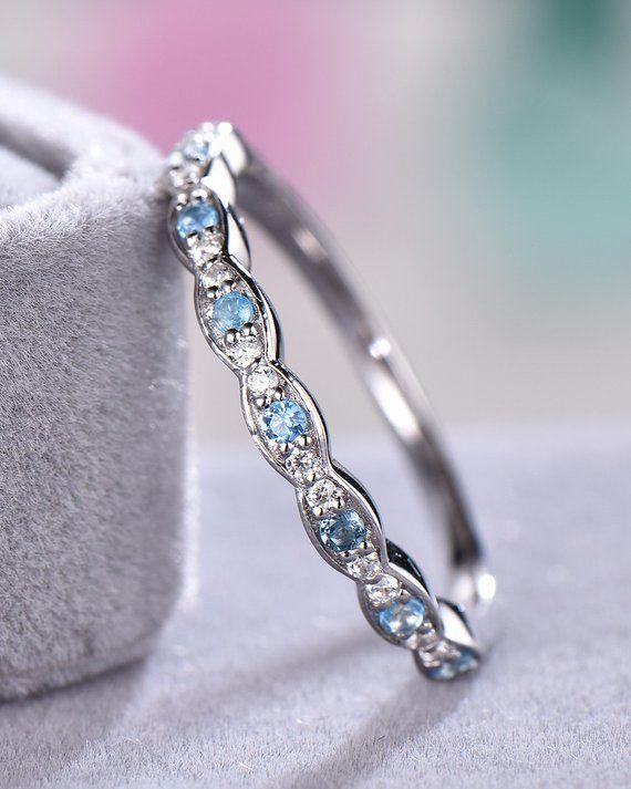 Opal /& diamond Engagement Band,14k white Gold,Anniversary ring,Promise ring,wedding ring,bridal ring,Half Eternity,Stackble,Gift for her