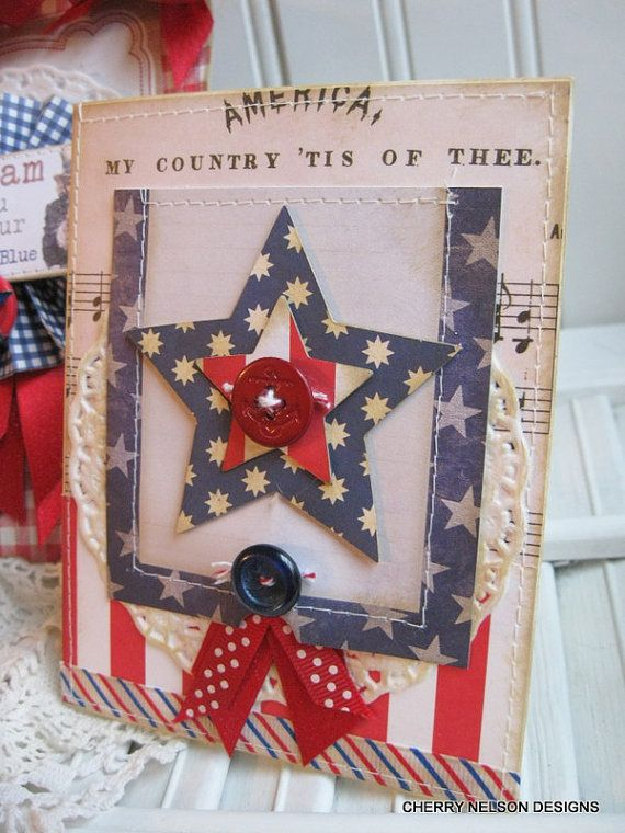 Memorial day card- patriotic  AMERICA MY COUNTRY tis of thee-handmade stitched card