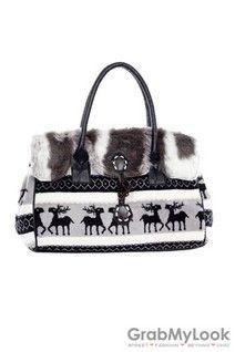 GrabMyLook  Reindeer Faux Fur Doctor Boston Shoulder Handbag Bag