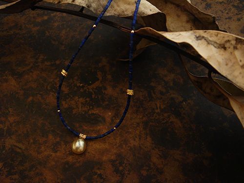 [Ancient Delusion : 015] Necklace-K18YG/Pearl/Lapis Lazuli