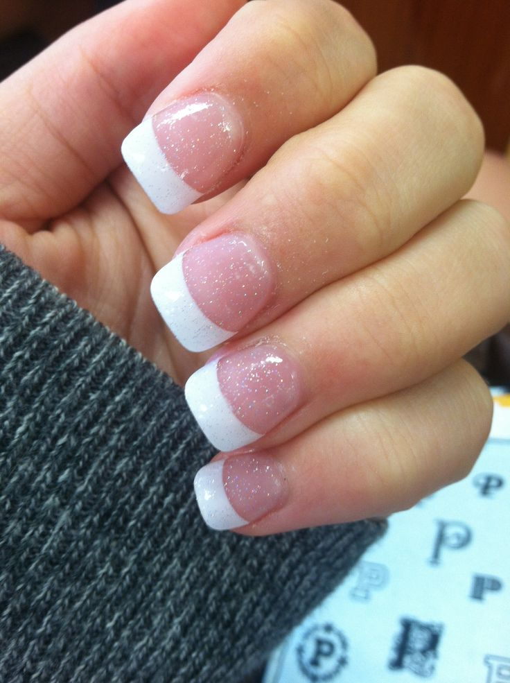 Cute sparkly French tip nails