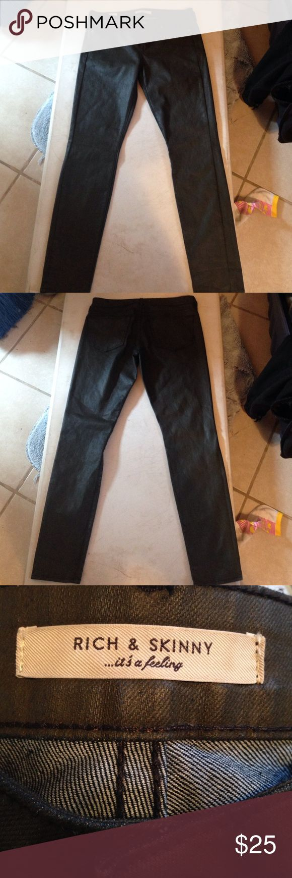 RICH & SKINNY FAUX LEATHER BROWN JEANS SZ 28 RICH & SKINNY FAIX LEATHER SKINNY BROWN JEANS SZ 28 Rich & Skinny Jeans Skinny