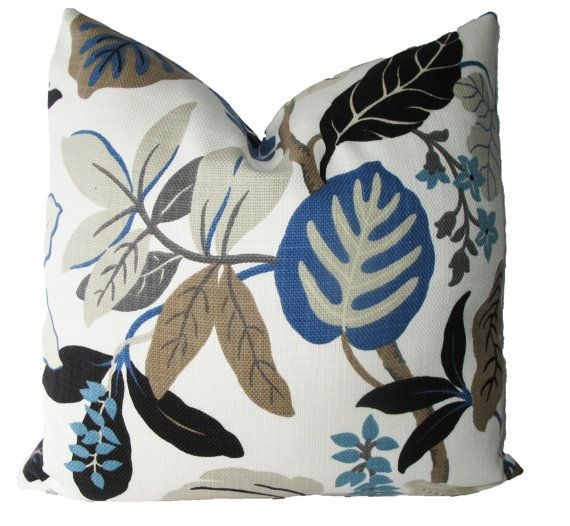 Decorative Designer Large Jacobean Floral Leaf by MakingFabulous,  Fun large floral, leaf, with winding stems. Royal blue, muted teal, taupe, grey, chocolate brown, tan brown, black all on a off white background. Great pillow to coordinate with browns, or greys. Basketweave, poly-cotton blend.