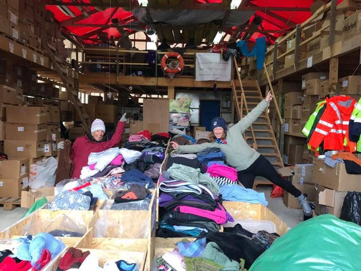 Jules Galloway an amazing online health coach and Lauren having fun in the Refugee donation center Chios, Greece