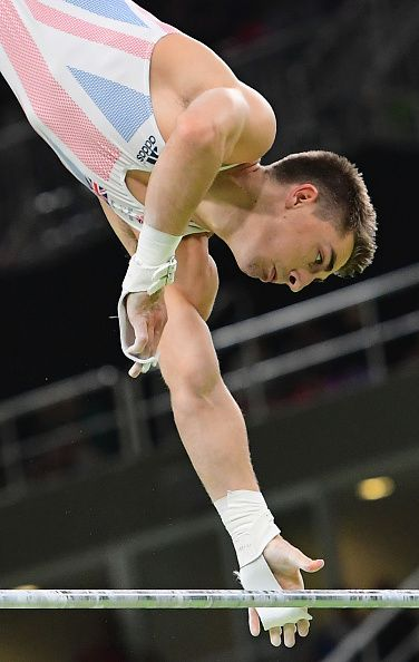 #RIO2016 Britain's Max Whitlock competes in the horizontal bar event of the men's individual allaround final of the Artistic Gymnastics at the Olympic Arena...