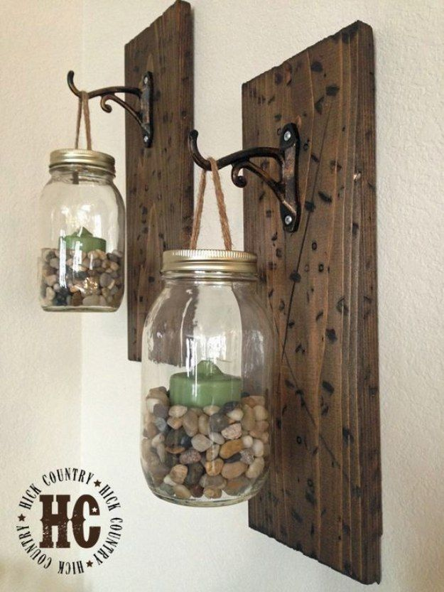Mason Jar Lights - Rustic DIY Mason Jar Wall Lanterns - DIY Ideas with Mason Jars for Outdoor, Kitchen, Bathroom, Bedroom and Home, Wedding. How to Make Hanging Lanterns, Rustic Chandeliers and Pendants, Solar Lights for Outside  http://diyjoy.com/diy-mason-jar-lights-lanterns