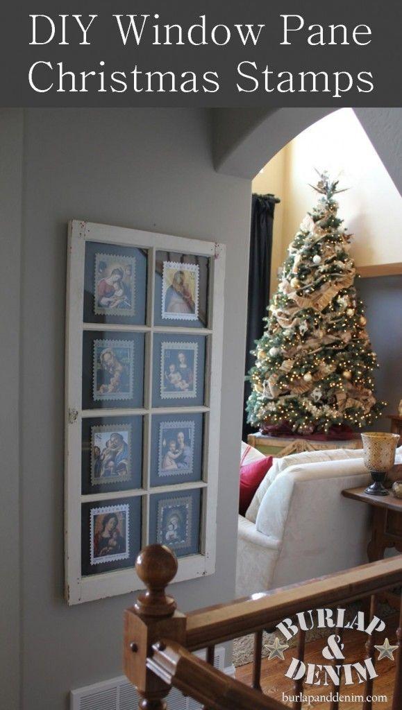 DIY Window Pane Framed Christmas Stamps | Burlap and Denim