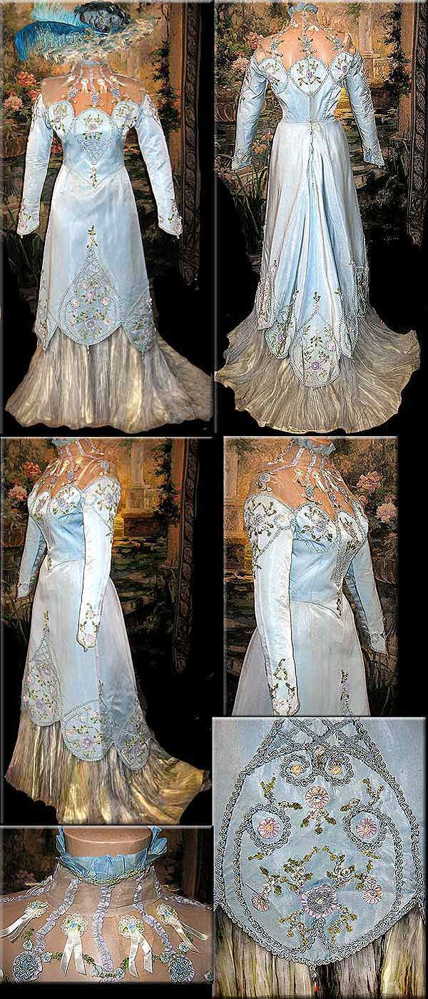 Steampunks can also go Edwardian, and as this 1904 stunner shows, it's worth considering.  The neckline decorations can be kicked up a notch with a little mad science where once were only ribbons.    from the collection of the world famous Oxford Playhouse Theatre via BustleDress