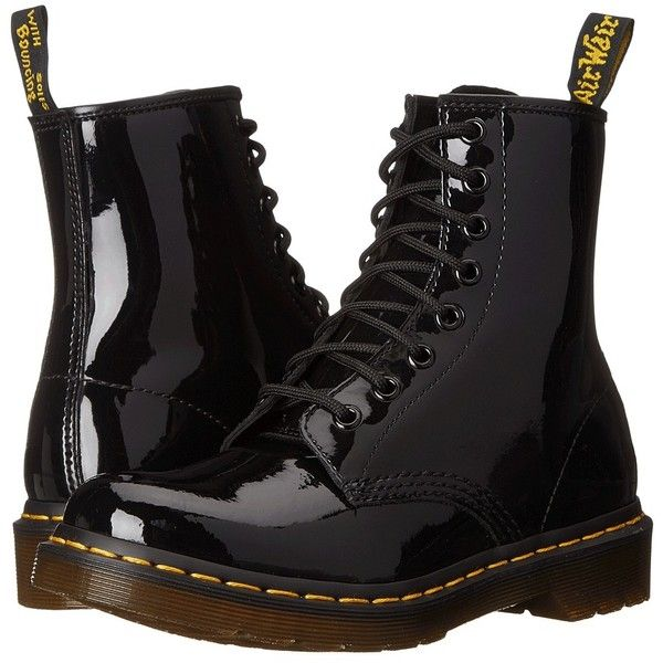 Dr. Martens 1460 W (Black Patent Lamper) Women's Lace-up Boots ($125) ❤ liked on Polyvore featuring shoes, boots, mid-calf boots, victorian boots, mid boots, mid calf lace up boots, flower boots and black lace up boots