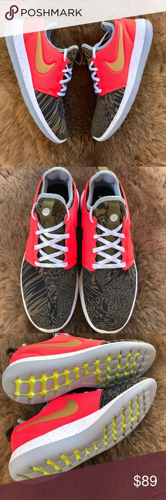 Net Nike ID gold swoosh Oreo Brand new no box Nike I'd custom made sneakers neon orange with gold swoosh price is firm,no trades please Nike Shoes Sneakers