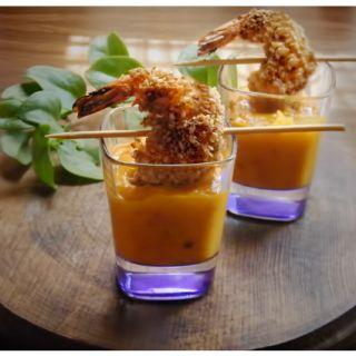 Camarones con Tempura y Panko en Salsa de Mango al Chipotle