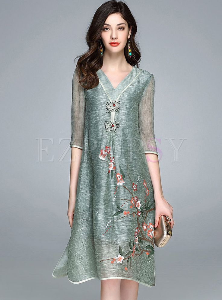 Shop for high quality Vintage Ink Printing V-neck Half Sleeve Slim Shift Dress online at cheap prices and discover fashion at Ezpopsy.com