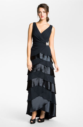 T by Tadashi Tiered Satin & Chiffon Gown | Nordstrom