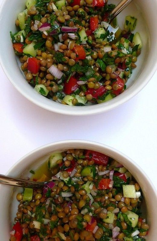 Egg and lentil salad...all ingredients can be found at weekly outdoor markets.
