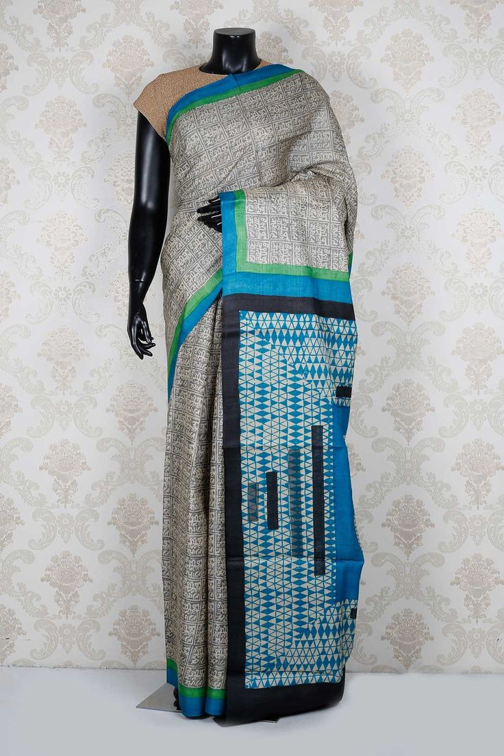Off white & grey pure tussar silk amazing saree with blue & green border -SR13965 - Pure Tussar Printed - PURE PRINTED SAREE - Sarees