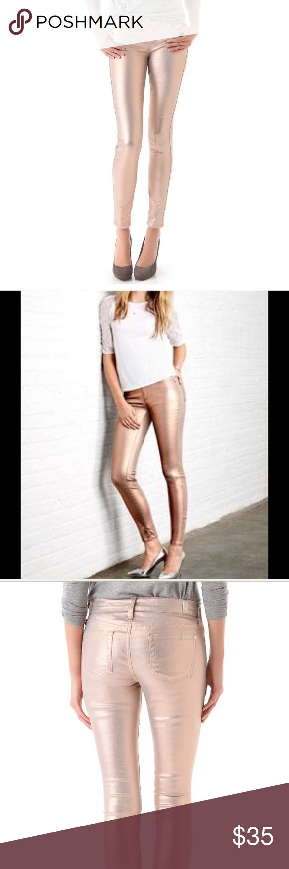 Metallic Rose Gold Jean Victoria Secret Siren mid rise jean in metallic rose gold.  The VS Siren gets glam with an allover metallic shine in unique Dusty Rose color.  These are low rise, skinny jeans and give a body-skimming silhouette, made in soft and stretchy denim.   Front zip with button closure; five-pocket styling. Machine wash. Tumble dry. Imported cotton/polyester/spandex. Size 2.  Beautiful fall/winter color.  Wore 2 times and got lots of compliments.  Great statement Jean…