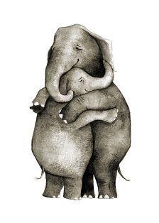 Porque los elefantes un abrazo mejor. Originalmente pintado con tinta de la india. Impresas en 5 x 7 papel de calidad con tintas archivales. Cada impresión es firmado a mano.