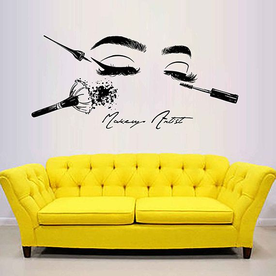 Eyes Wall Decals Eyelashes Wall Sticker Beauty Salon Tools Make Up Wall Decals G…