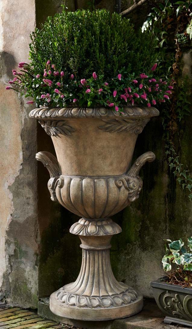 """Make a majestic statement at your entry or in your garden with estate-sized Venice Planters - available as large as 50"""" high. 