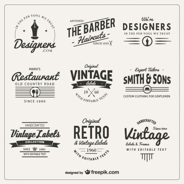 Variedade de emblemas em estilo retrô                                                                                                                                                                                 Mais