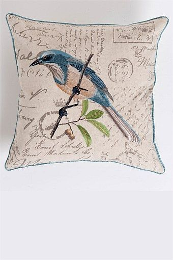 Buy Home Decor Online - Vases & Candlelight, Picture frames, Wall Art, Cushions, Throws, Window dressing, Decorative accents - Blue Bird Cushion - EziBuy New Zealand