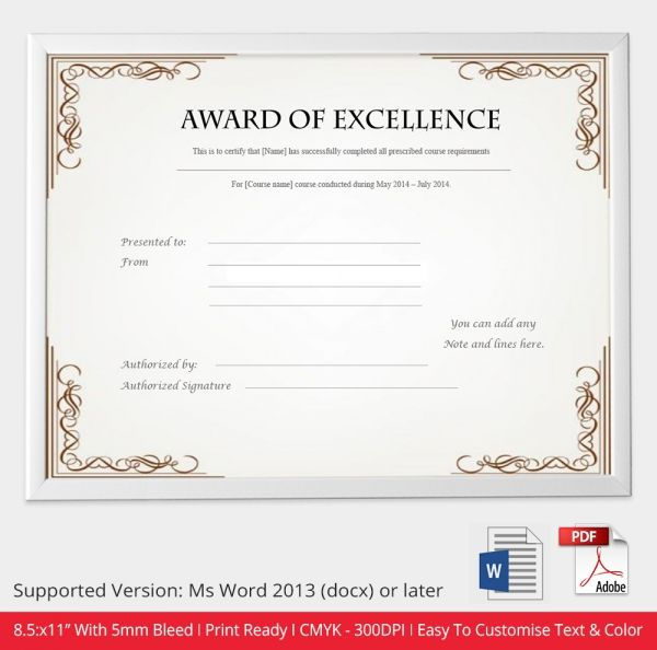 20+ parasta ideaa Pinterestissä Free printable certificate templates - award of excellence certificate template