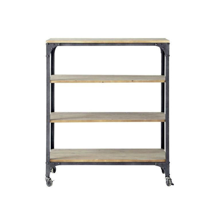 BROOKLYN    Consolle color antracite stile industriale a rotelle in metallo e legno L 88 cm   Maisons du Monde