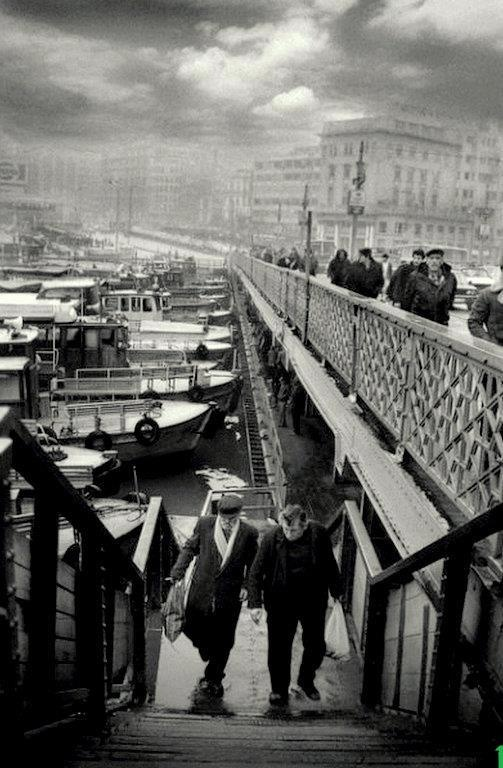 Istanbul. Vintage Galata Bridge view