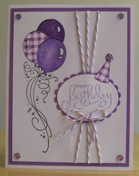 Birthday Card...purple...good design...like the use of baker's twine and the cute little hat on the sentiment...