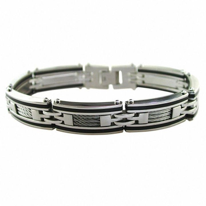 Zales Mens Dark Wood Inlay Cuff Bracelet in Stainless Steel - 8.5 noMwI