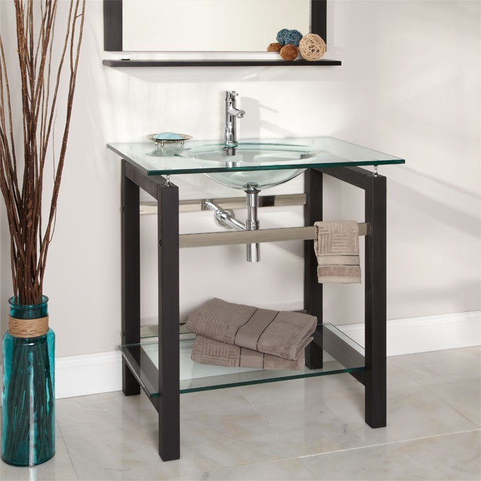 Contemporary 32 Xenia Console Vanity Cabinet With Mirror