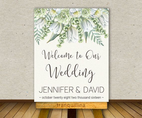 Welcome Sign PRINTABLE, Floral Wedding Sign, Wedding Welcome Sign, Shower Welcome Sign, Greenery Welcome Poster, Wedding reception Sign. Matching wedding invitation at: tranquillina.etsy.com