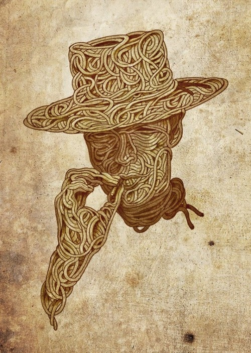 Spaghetti Western Clint Eastwood Movie Star. Clever concept art, using the track of spaghetti to make the outline of the most famous spaghetti western star of all time.