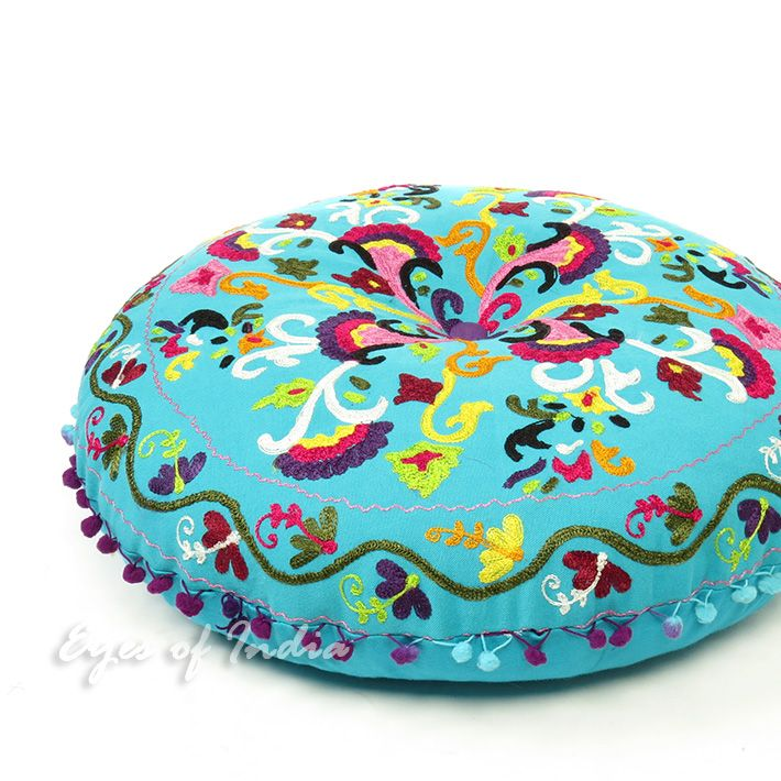 """Light Blue Pompom Round Embroidered Decorative Floor Cushion Pillow Cover - 24"""""""