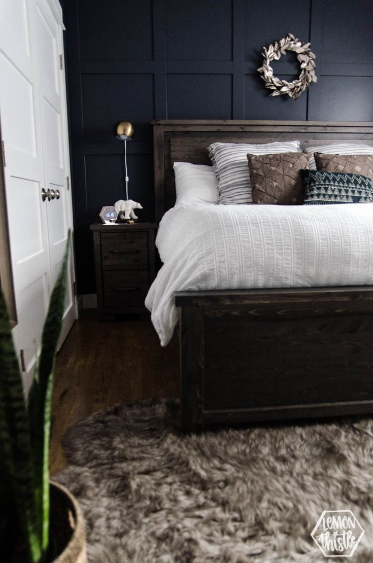 Navy Master Bedroom With Diy Accent Wall | Current Home Plan | Navy