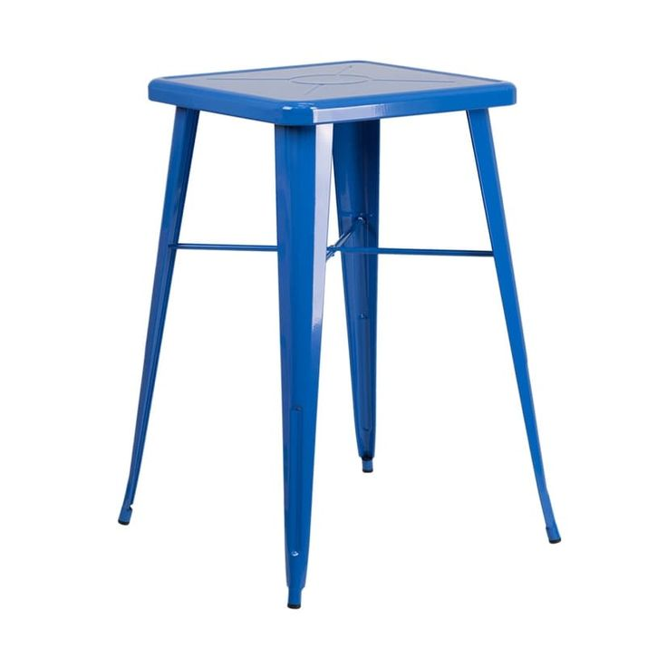 Offex 23.75'' Square Blue Metal (Grey) Indoor-Outdoor Bar Height Table [OF-CH-31330-BL-GG]