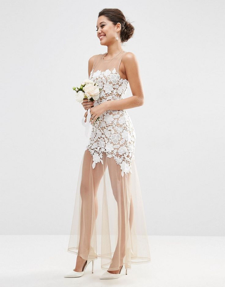 Immagine 1 di ASOS - Vestito lungo da sposa in tessuto a rete effetto nudo con…
