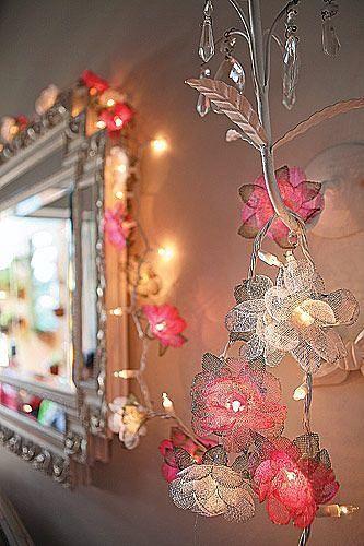DIY flower garland for girls room decor using ... | apartment ideas/o…
